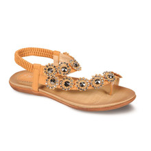 Lunar Tan Post Toe Elastic Sandal