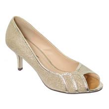 Barino Gold Peep Toe Kitten Heels