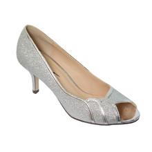 Barino Silver Peep Toe Kitten Heel