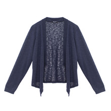 Twist Navy Knit Linen Blend Drape Cardi