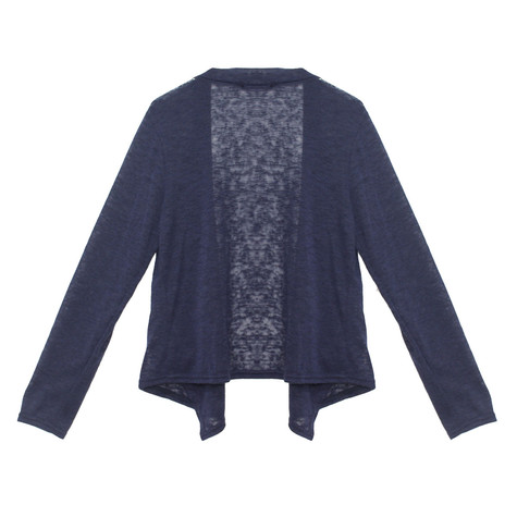 Twist Navy Knit Linen Blend Drape Cardi