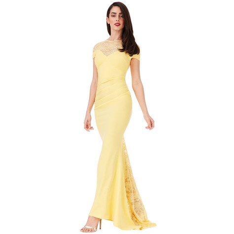 City Goddess LEMON PLEATED MAXI DRESS WITH LACE DETAIL