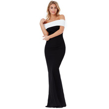 City Goddess BLACK & CREAM MULTI NECKLINE MAXI DRESS