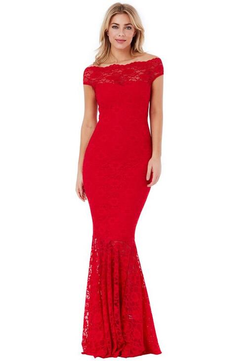 Red Bardot Lace Maxi Dress