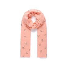 Jewel City Coral Bird Pattern Accessory Scarf
