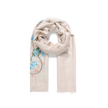 Jewel City Beige Flower Pattern Accessory Scarf