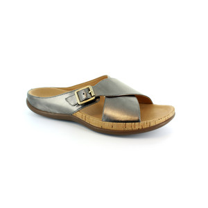 Strive Pewter Leather Upper & Insole Sandal