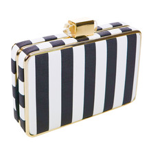 Dice Stripe Black & White Clutch Bag