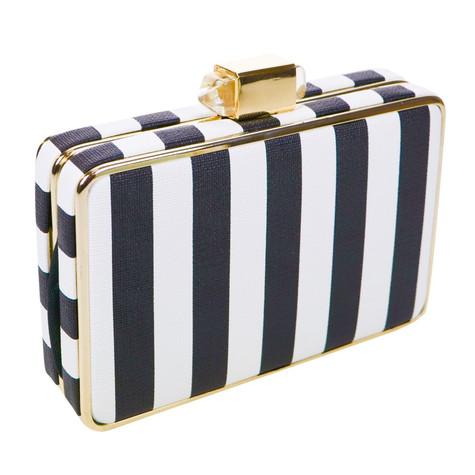 Dice Stripe Black & White Clutch Bag