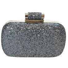 Dice Gun Metal Glitter Clutch Bag