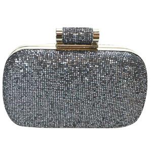 Dice Gun Metal Glitter Clutch Bag