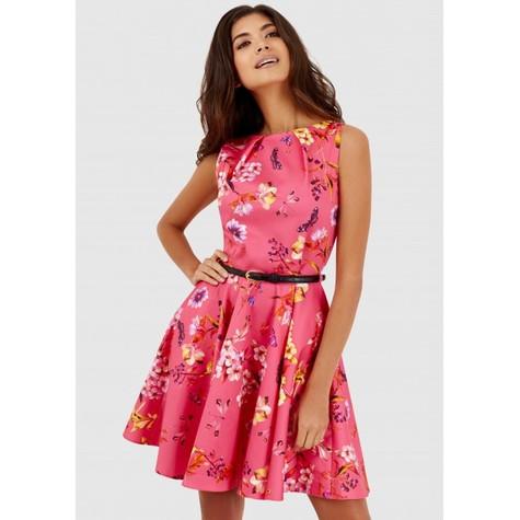 Closet Pink Floral Belted Skater Dress