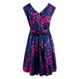 Closet Navy Butterfly Print Belted Dress