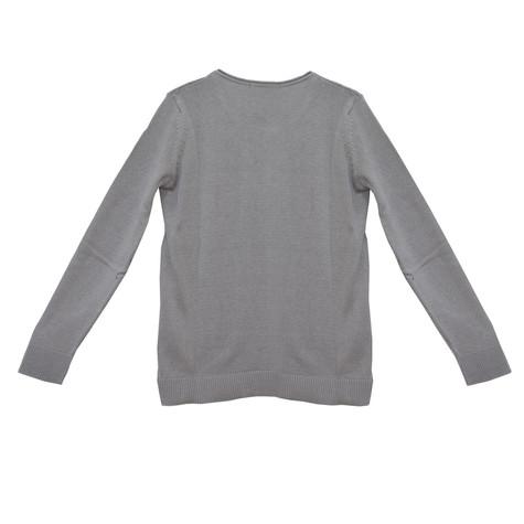 Twist Light Grey Round Neck Knit