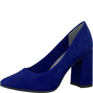Marco Tozzi Royal Blue Micro Fibre Block Heel Court Shoe