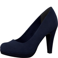 Marco Tozzi Navy Glitter Heel & Platform Court Shoe