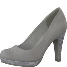 Marco Tozzi Grey Glitter Heel & Platform Court Shoe