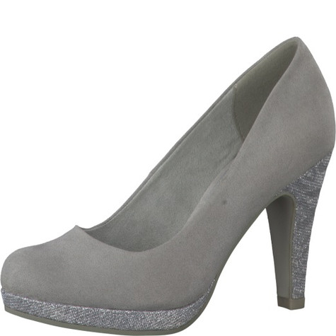 91b12f5c Marco Tozzi Grey Glitter Heel & Platform Court Shoe | Pamela Scott