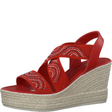 Marco Tozzi Red Elastic Wedge Sandal