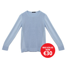Twist Sky Blue Round Neck Knit