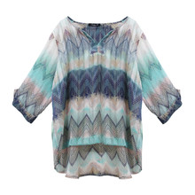 SophieB Navy & Green Light Printed Top