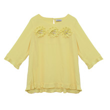 Zapara Yellow Daisy Crochet Flower Detail Top