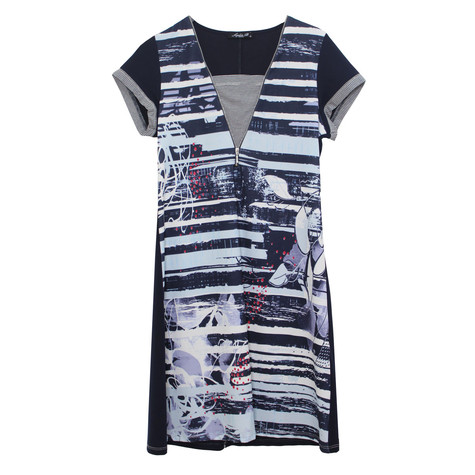 SophieB V-Neck Zipper Stripe Dress
