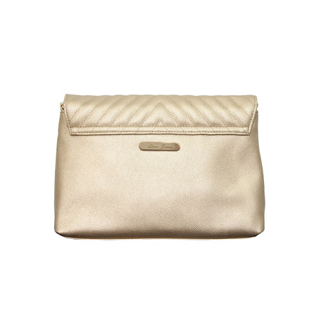 Love Juno Gold Quilted Clutch Bag