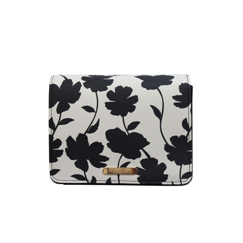Love Juno Off White and Black Floral Clutch Bag