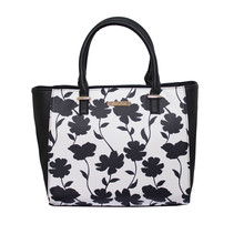 Love Juno Off White and Black Floral Print Hand Bag