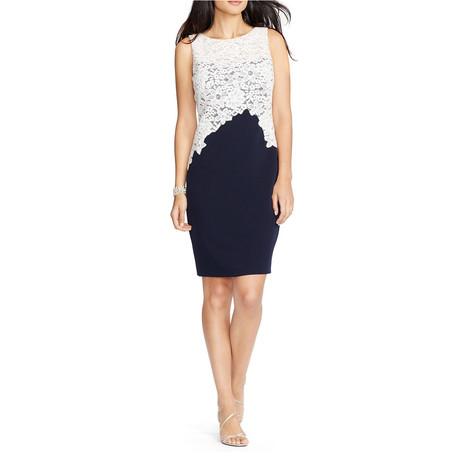 Lauren by Ralph Lauren Lace Crepe Sheath Dress