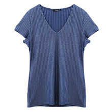 SophieB Blue Metallic Fine Rib Top