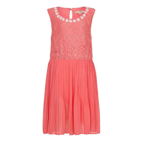 Yumi Girls Coral Pearl Floral Lace Dress