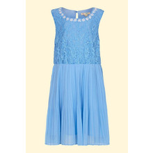 Yumi Girls Pale Blue Pearl Floral Lace Dress