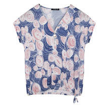 SophieB Blue & Pink Floral Pattern Zip Detail Top