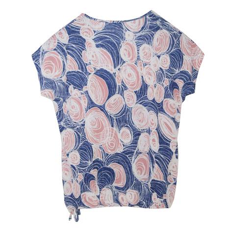 SophieB Blue & Pink Floral Pattern Zip Detail Top