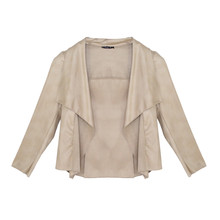 SophieB Beige Faux Leather Open Jacket