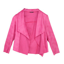 SophieB Lipstick Pink Faux Leather Open Jacket