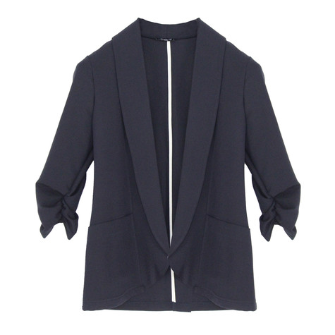 SophieB Navy Rouched Sleeved Jacket