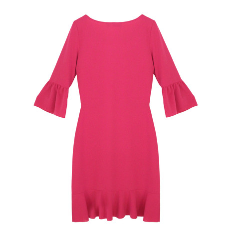 Zapara Fushia Flutter Sleeve Round Neck Dress