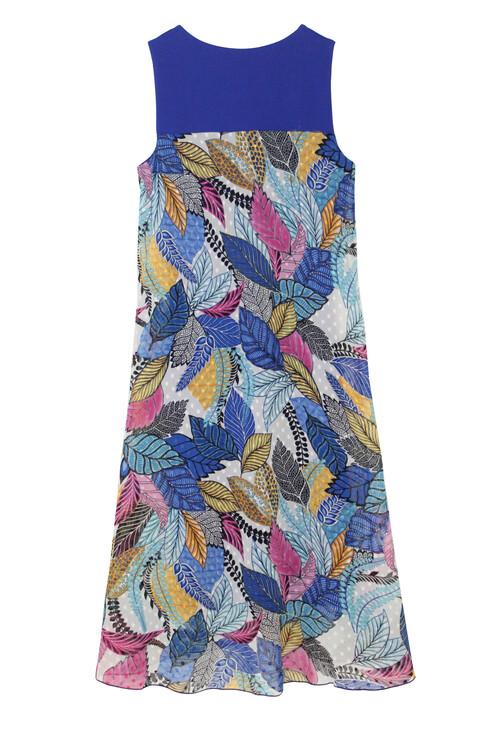 Sophie B Blue Shoulder Floral Print Long Dress