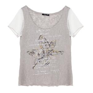 SophieB Beige Floral Print Mesh Sleeve Top