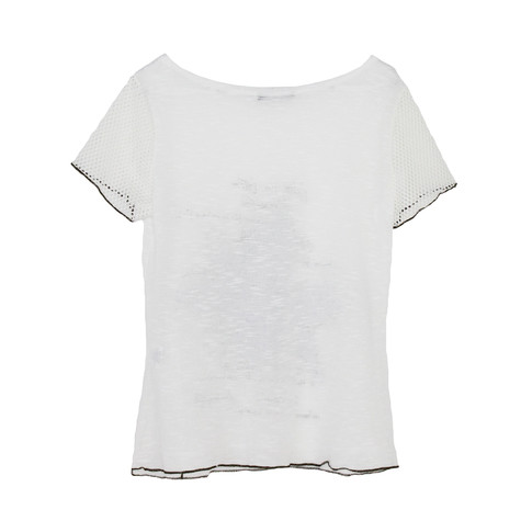 SophieB Off White Floral Print Mesh Sleeve Top
