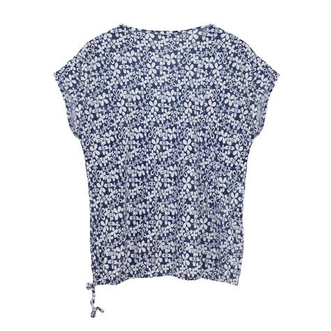 SophieB Denim & White Floral Zip Detail Top