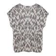 Twist Cream V-neck Leaf Pattern Print Blouse