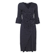 Zapara Navy Polka Dot Wrap Dress