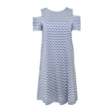 Ronni Nicole Blue Pattern Cold Shoulder Dress