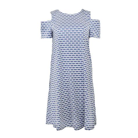 Ronni Nicole Blue Pattern Cold Shoulder Dress