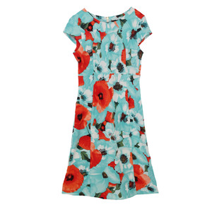 Ronni Nicole Mint Floral Print Round Neck Dress