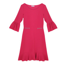 Zapara Fushia Flutter Sleeve Round Neck Dress